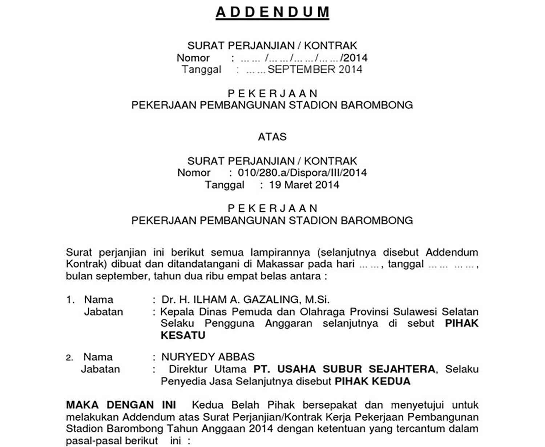 Surat Addendum Perjanjian Kontrak